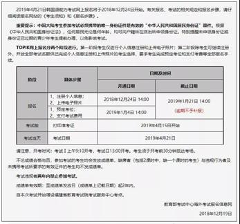 2019年4月TOPIK 考试开始报名啦